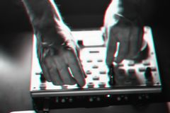 DJ探照灯照亮的搅拌器迪斯科 库存图片