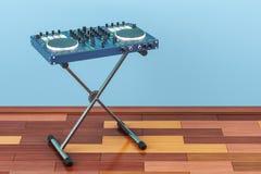 DJ控制台在木地板上的屋子, 3D里翻译 库存例证