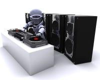dj混合的记录机器人转盘 皇族释放例证