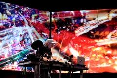 DJ阴影在音乐会执行在生波探侧器节日 免版税库存照片