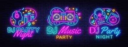 DJ音乐党霓虹灯广告汇集传染媒介设计模板 音乐、收音机和生活音乐会,霓虹海报的DJ概念 库存例证