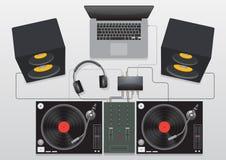 DJ που αναμιγνύει το καθορισμένο διάνυσμα περιστροφικών πλακών Στοκ εικόνα με δικαίωμα ελεύθερης χρήσης