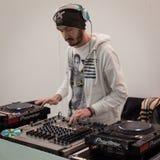 DJ που τίθεται Ιταλία στη εμπορική έκθεση Mipap στο Μιλάνο, Στοκ Εικόνα