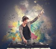 DJ играя музыку Стоковое Фото
