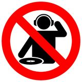 dj отсутствие зоны знака предупреждающей Стоковые Изображения