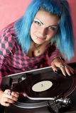 dj покрасил turqouise панка волос девушки Стоковое Изображение RF