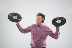 DJ представляя с показателем винила Стоковая Фотография RF