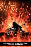 替代背景灼烧的迪斯科dj传单 图库摄影
