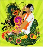 DJ. Background with DJ and floral element around him for the design printing and advertising Stock Photos