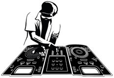 DJ. Disk jockey in black silhouette. Console and character are separated and easily selectables Royalty Free Stock Photo
