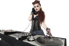 在白色背景的美丽的废物DJ 免版税库存照片