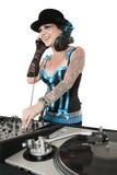 在白色背景的愉快的被刺字的DJ 免版税图库摄影
