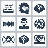 Вектор dj и установленные значки музыки Стоковое Изображение