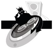DJ. Black crazy DJ with equipment. Vector