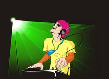 Dj. Giving his best to please the crowd Vector Illustration
