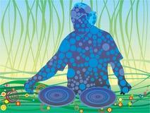 DJ. This illustration for disk or seal on t-shirt vector illustration