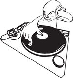 DJ. A a funky dj mixing stock illustration