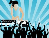 Dj. Illustration of a dj and party people Royalty Free Stock Photos