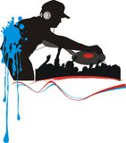 Dj. Abstract silhouette dj and hands teenager Royalty Free Stock Images