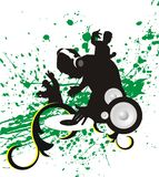 Dj. Green background with silhouette teenager Royalty Free Stock Photos
