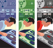The Dj. Illustration of a DJ spinning, with different color scales vector illustration