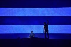 Dj Afrojack miesza na scenie Zdjęcia Royalty Free