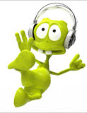 Dj alien cartoon karate jump Royalty Free Stock Photos