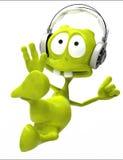 Dj alien cartoon karate jump Royalty Free Stock Photos