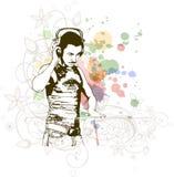 DJ & mistura das cores da música Fotos de Stock Royalty Free
