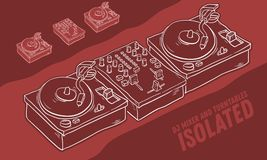 Dj Audio Equipment Sound Mixer And Turntables Drawing Isolated. Artistic Cartoon Hand Drawn Sketchy Line Art Style. Dj Audio Equipment Sound Mixer And Royalty Free Stock Photos