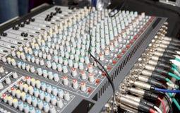 DJ audio mixer. Limited focus depth Royalty Free Stock Images