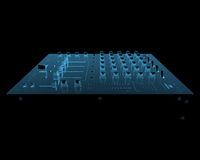 DJ audio mixer. (3D x-ray blue transparent isolated on black Royalty Free Stock Photography
