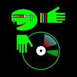 DJ avatar. A stylized picture depicting a DJ in a club attributes, playing on vinyl. Option in green on black background. Illustration in a vector format Stock Photos