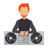 Dj avatar silhouette icon. Illustration design Royalty Free Stock Photo