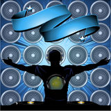 DJ and banner on wall speakers background Stock Photography