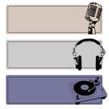 DJ Banners Vector Set. Horizontal DJ Banners Set vector Royalty Free Stock Images