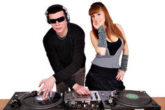 Dj and beautiful girl Stock Photos