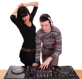 Dj and beautiful girl play Stock Image