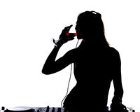 Silhouette Woman Drinking White Wine Stock Photos, Images ...
