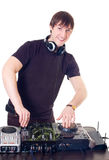 The DJ behind a control panel Royalty Free Stock Photography