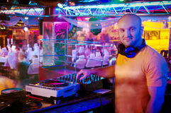 DJ behind the control panel Royalty Free Stock Photo