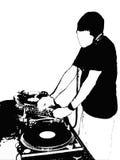 DJ bij de console vector illustratie