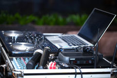 DJ booth, microphone. Royalty Free Stock Image
