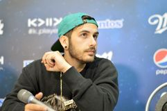 DJ Borgore gives a press conference . stock photo