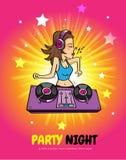 DJ brilla al club de la música del disco libre illustration