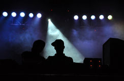 DJ Camo and Krooked mixing during a live concert Stock Images