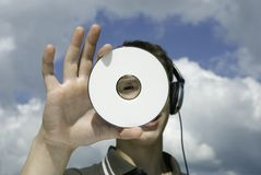 DJ with cd Stock Image