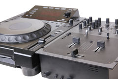 Dj cd player and mixer Royalty Free Stock Photos