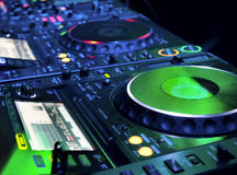 DJ CD player and mixer Royalty Free Stock Images