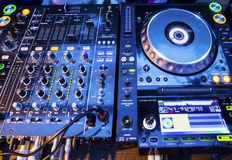 DJ CD player and mixer Stock Image